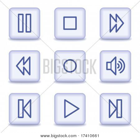 Walkman web icons, light violet glossy buttons