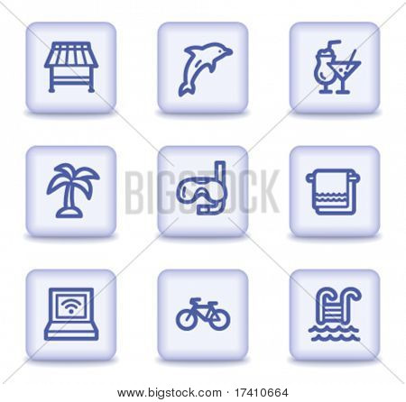 Vacation web icons, light violet glossy buttons