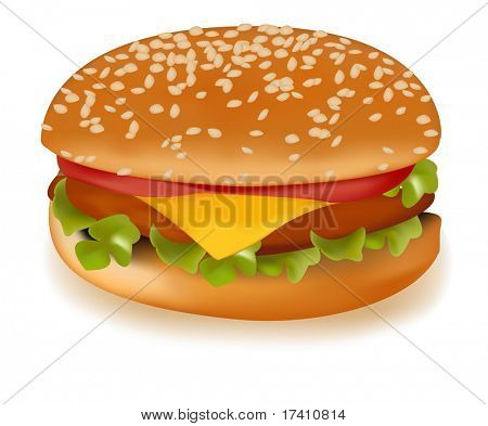 Photo-realistic vector illustration of the cheeseburger.