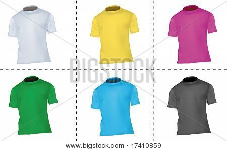 Photo-realistic vector illustration. Collection of T-shirt templates (men). Black, white, blue, pink, green and yellow.