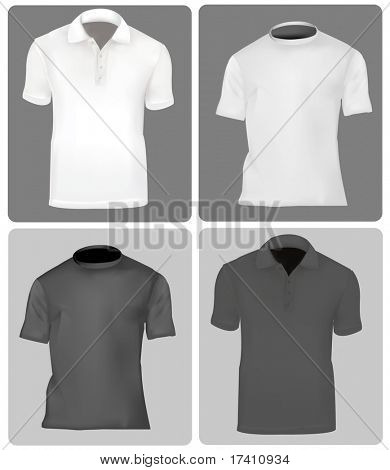 Photo-realistic vector illustration. Two polo shirts and two T-shirts (men). Black and white.