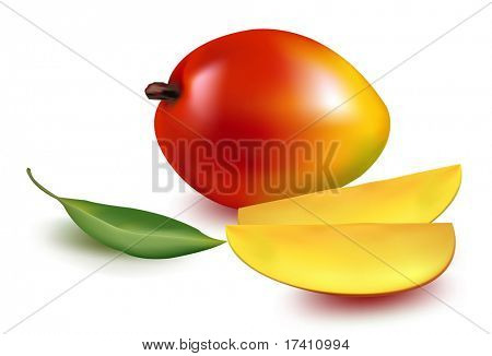 Photo-realistic vector illustration. Mango with leaf and mango slices.