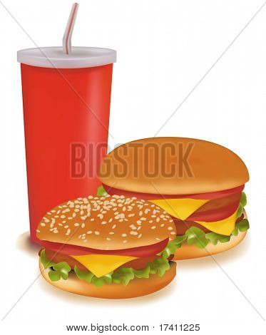 Photo-realistic vector illustration. Two burgers and a drink.