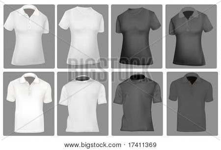 Photo-realistic vector illustration. Two polo shirts and two T-shirts (men and women). Black and white.