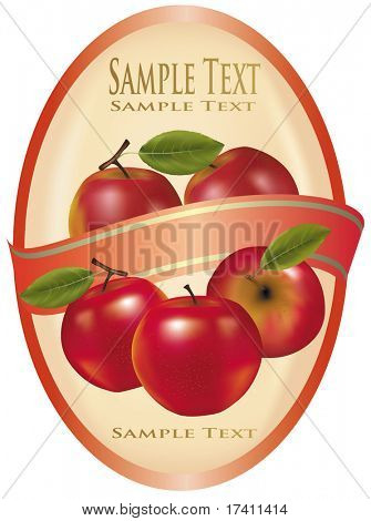Stock Vector Illustration: Photo-realistic vector illustration. Yellow label with red apples.