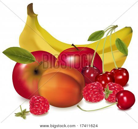 Photo-realistic vector illustration. Two apples, cherries, pears and banana and Raspberries