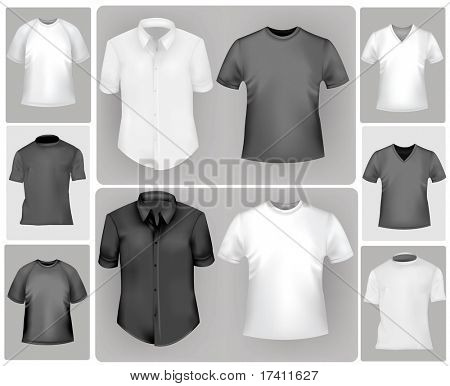 Black and white sporty polo shirts and t-shirts. Photo-realistic vector illustration