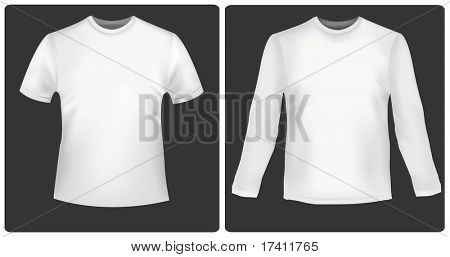 White polo shirt with long sleeves and polo shirt. Photo-realistic vector.