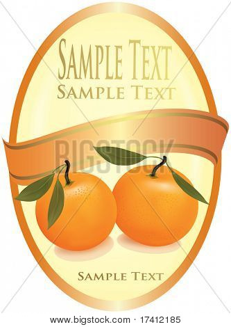 Orange label with two tangerines. Vector.