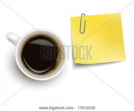 Nota adhesivo amarillo y una taza de café. Vector fotorrealistas.