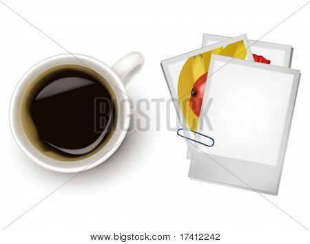 Photo frames a cup of coffee. Photo-realistic vector.