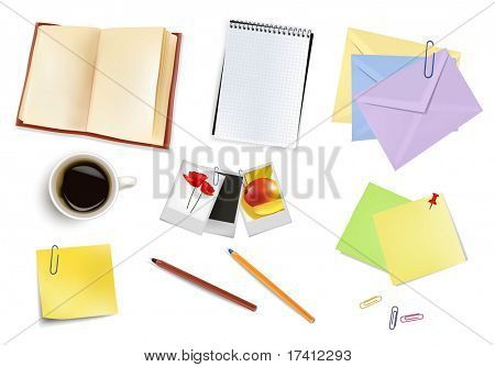 Photo frames, notebook, pen and a cup of coffee. Photo-realistic vector.