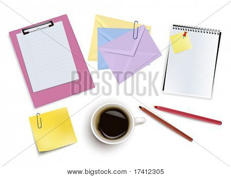 Clipboard, office paper, pens and a cup of coffee. Photo-realistic vector.