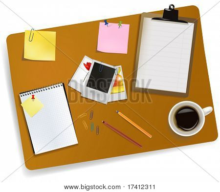 Office supplies laying on the board. Vector.