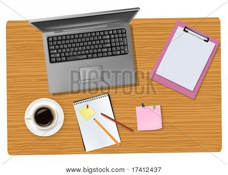 Grey laptop and office supplies laying on the brown board. Vector.