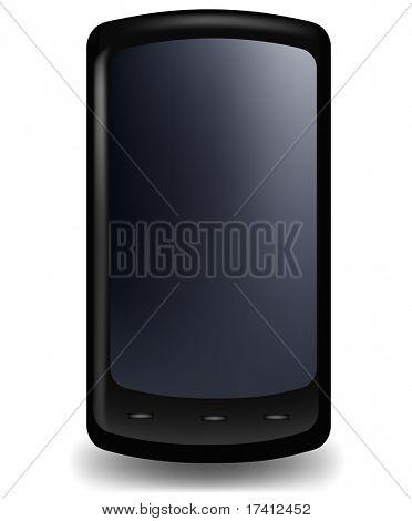 Teléfono con estilo brillante negro. Vector.