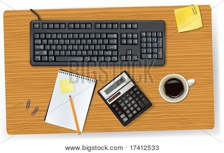 Keyboard, calculator and office supplies laying on the brown board. Vector.