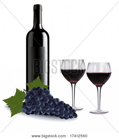 A wine bottle, two glasses of red wine and some grapes. Vector.