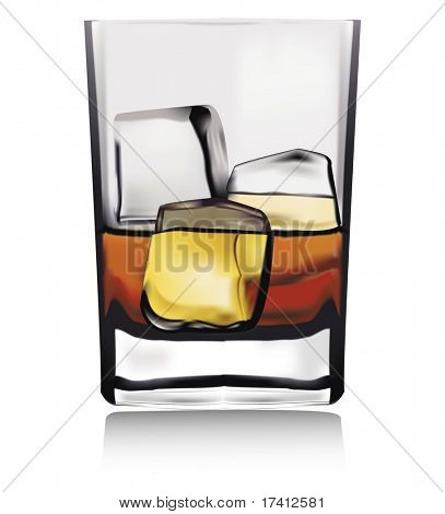 Whiskey in glass with ice isolated on white. Vector.