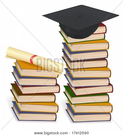Graduation cap and diploma laying on stacks of books. Vector.