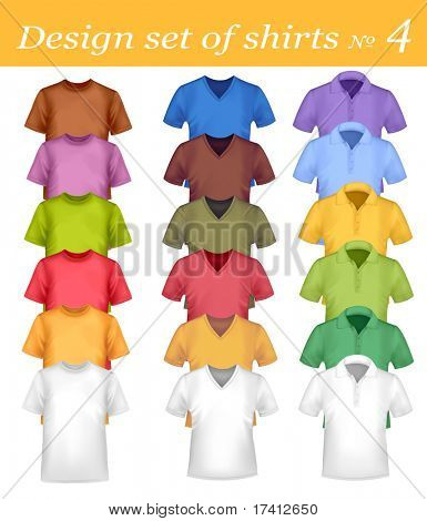 Colored men and women polo and t-shirts. Photo-realistic vector illustration.