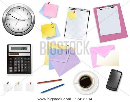 A clock, calculator and some office supplies. Vector.