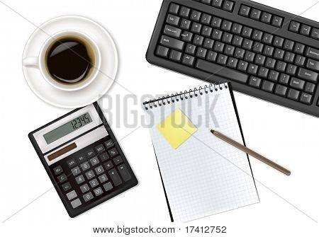 Calculator and office supplies. Vector.