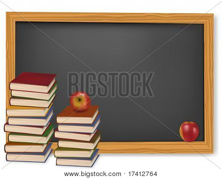 School books with apples on the desk. Vector.