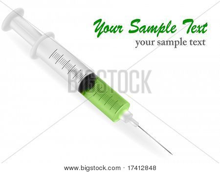 Syringe with needle on white background