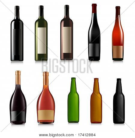 Set of different bottles. Vector illustration.