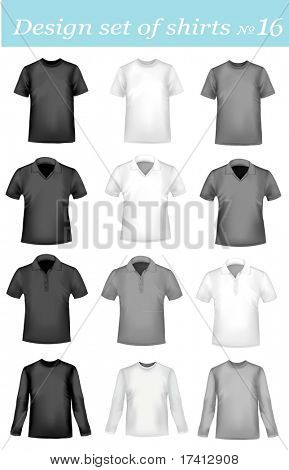 Black, grey and white men polo shirts and t-shirts. Photo-realistic vector illustration