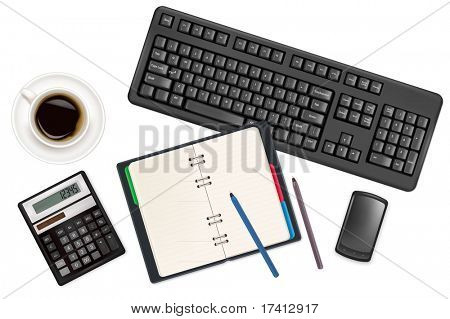 Keyboard and office supplies. Vector.