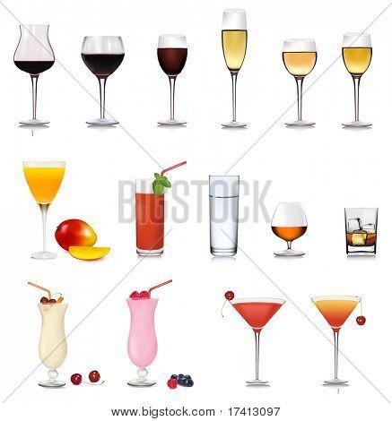 Big set of drinks. Vector.