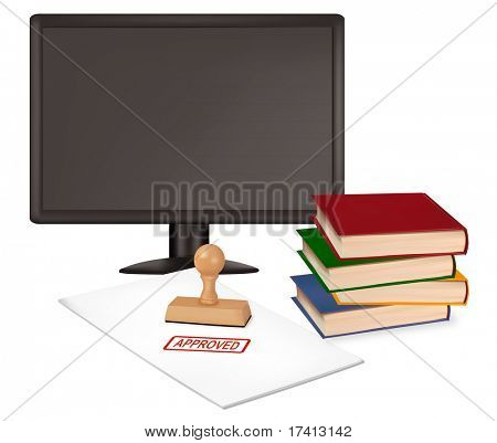 Monitor, keyboard and mouses. Illustration for your design project. Vector