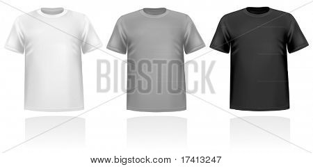 Black, and white men polo shirts. Photo-realistic vector illustration
