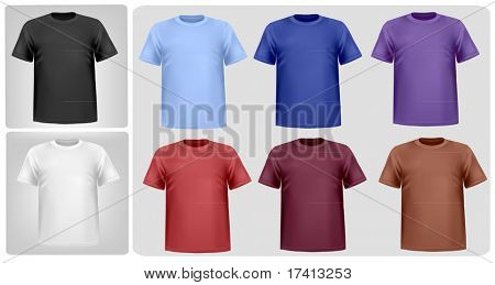 Black, white and colored men polo shirts. Photo-realistic vector illustration