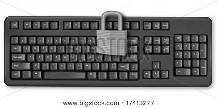 Keyboard with padlock on enter