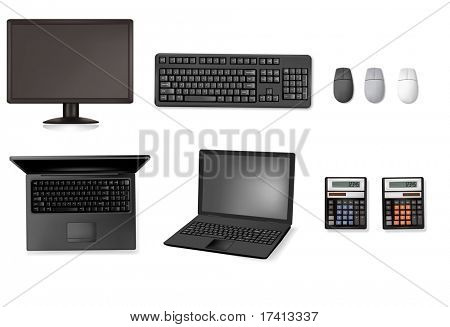 Set of computers and electronics. Vector.