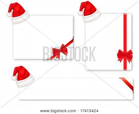 Collection of red bows and Santa hats. Vector.