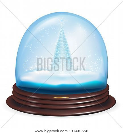 Vector snow globe with a christmas tree within.