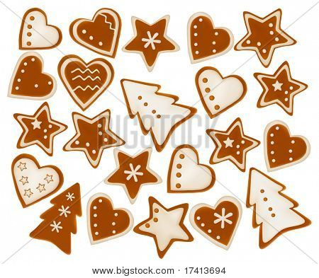 Christmas frame background of gingerbreads. Vector.