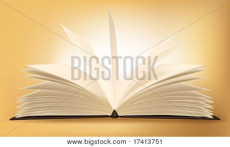 Old book on the gradient background. Vector.