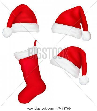 Three red santa hats and christmas stocking. Vector illustration.