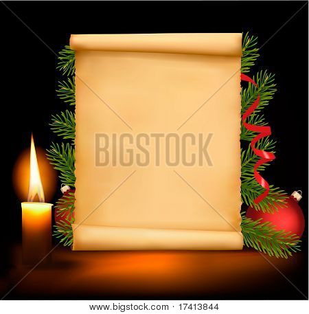 Christmas decorations on the old paper. Vector.