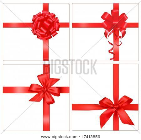 Collection of red gift bows with ribbons. Vector.