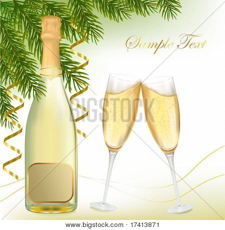 Vector illustration. Two glasses of champagne with bottle.