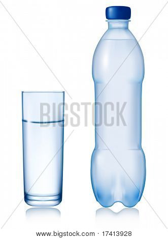 Bottle of water with glass. Vector illustration.