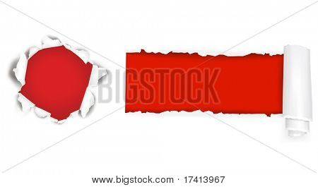 Assortment of ripped white paper against a red backgrounds. Vector illustration.
