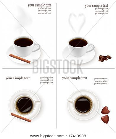 Four design backgrounds with coffee. Vector.