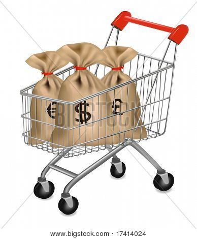 Shopping cart with money bags with dollars, euro and pound. Business concept. Vector.